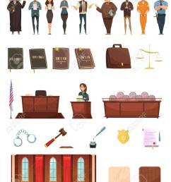 criminal justice retro cartoon icons collection with law books jury box judge and courtroom isolated vector [ 1040 x 1300 Pixel ]