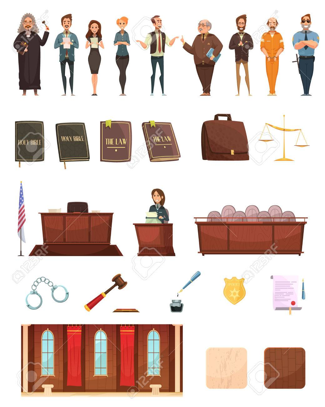 hight resolution of criminal justice retro cartoon icons collection with law books jury box judge and courtroom isolated vector