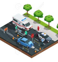 isometric road accident composition with car bumped into traffic sign and injured driver on emergency stretcher [ 1300 x 1011 Pixel ]