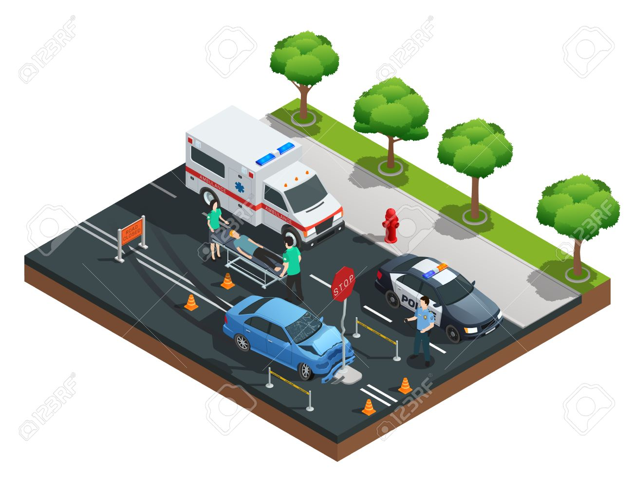 hight resolution of isometric road accident composition with car bumped into traffic sign and injured driver on emergency stretcher