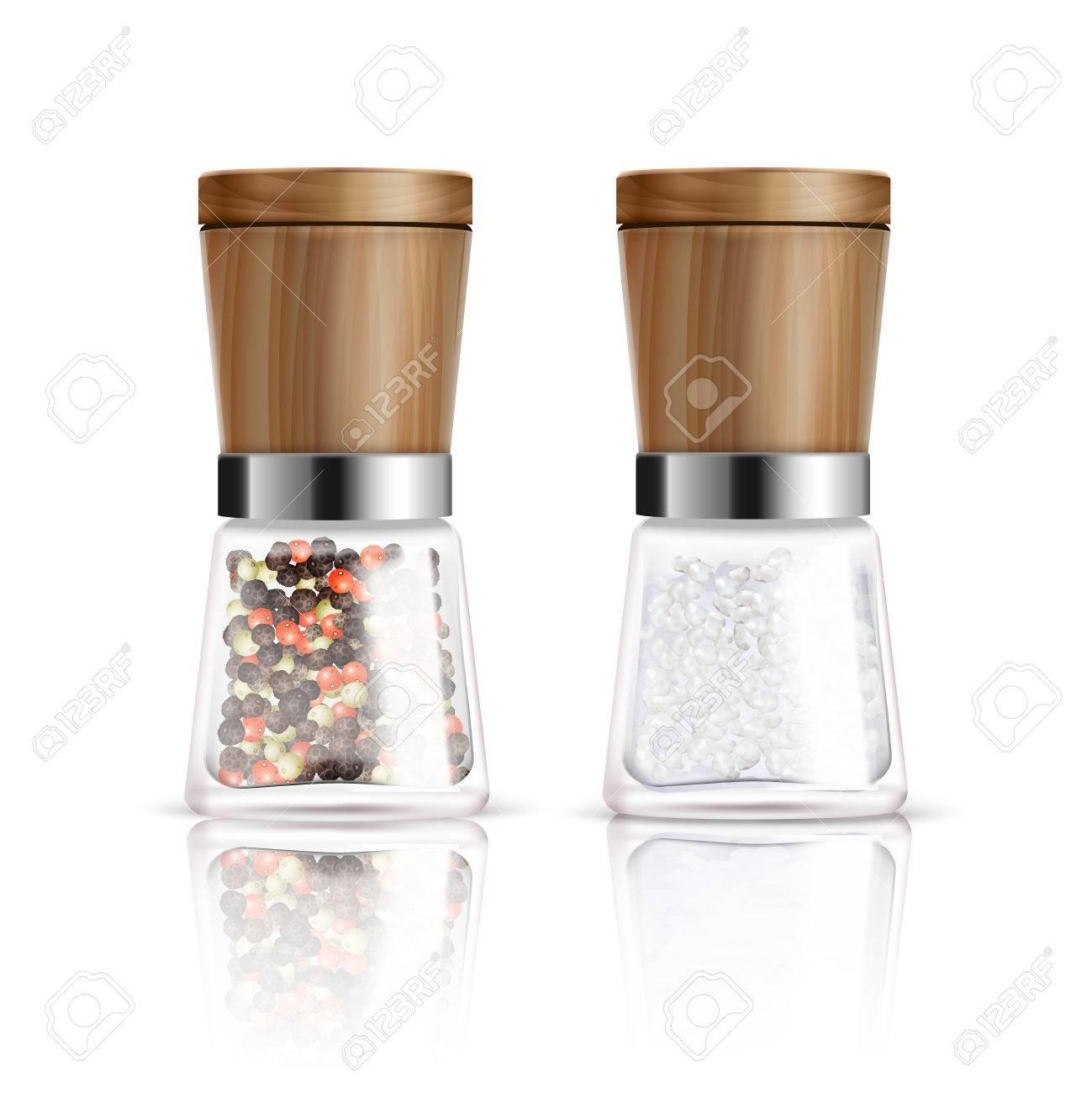deux composition de moulin a poivre et sel realiste avec recipient en verre et couvercle en bois