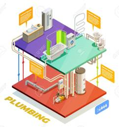 plumbing two story house water heating system isometric set of boiling room bathroom and kitchen stock [ 1300 x 1170 Pixel ]