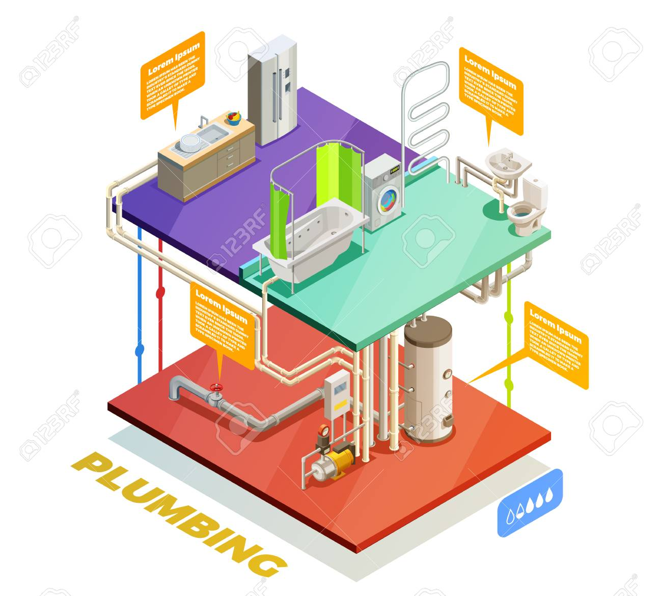 hight resolution of plumbing two story house water heating system isometric set of boiling room bathroom and kitchen stock