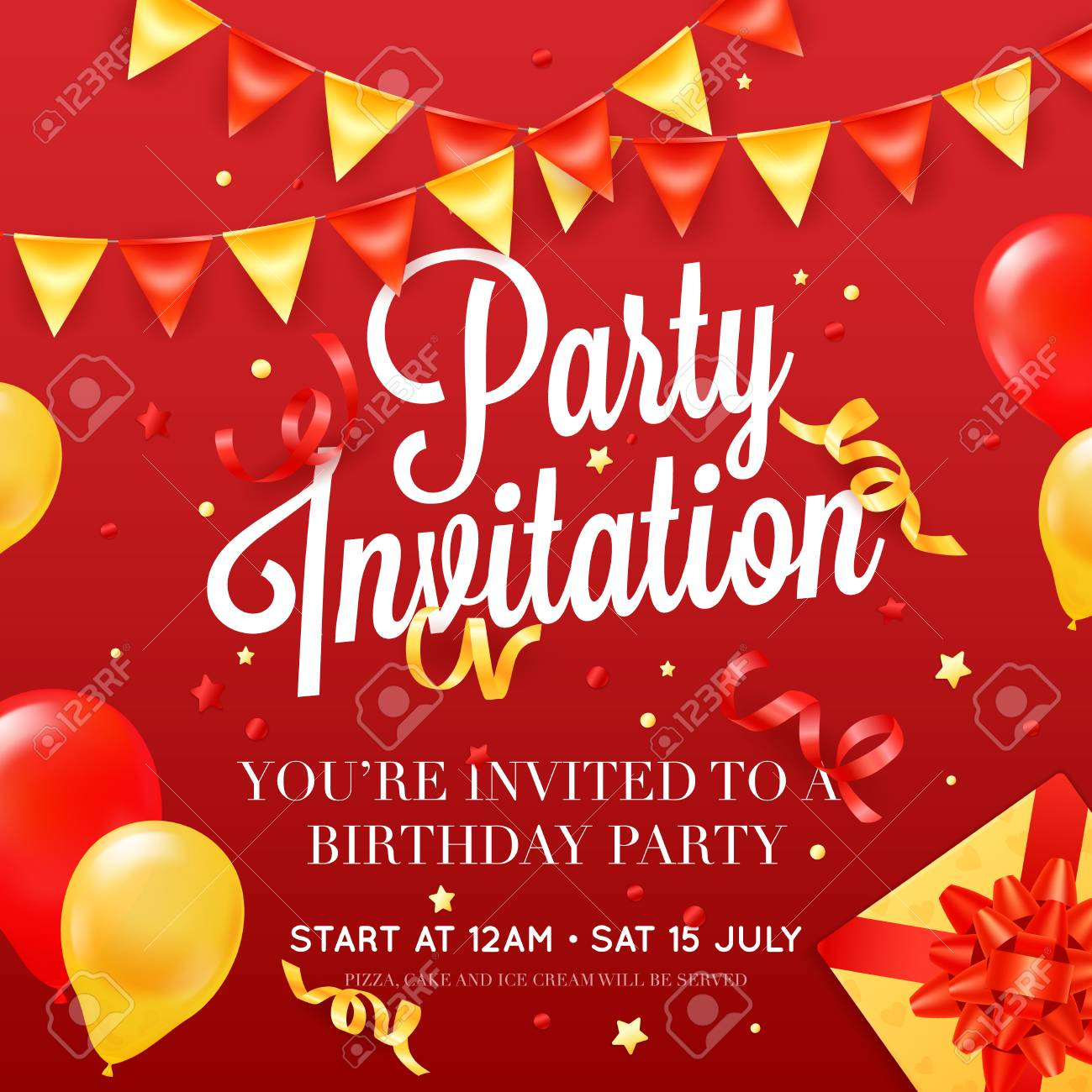 birthday party invitation card poster template with ceiling balloon