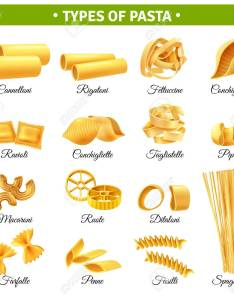 Realistic infographics with types of italian pasta and their names isolated on white background vector illustration also rh rf