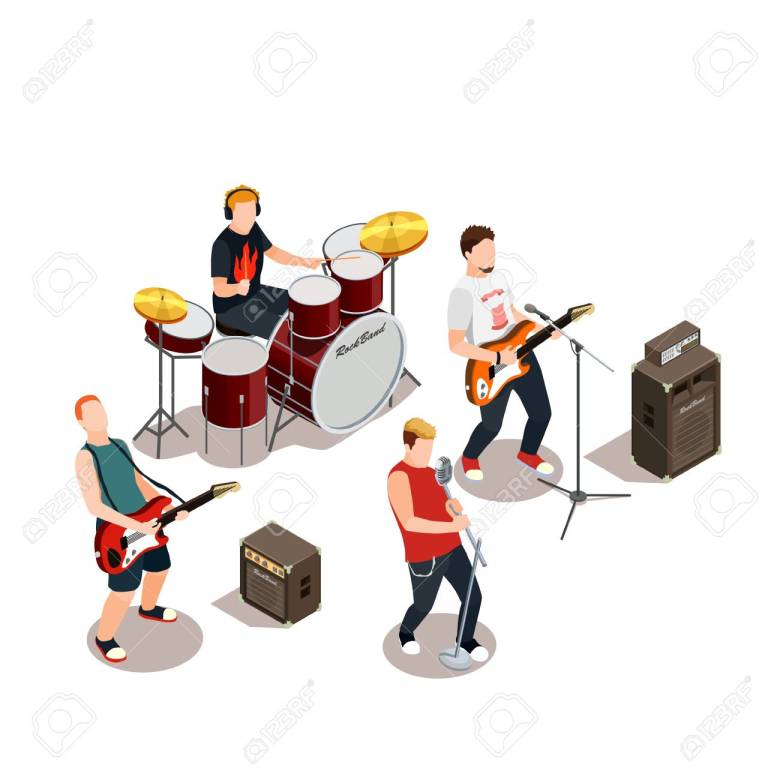 rock band with musical instruments, concert equipment during