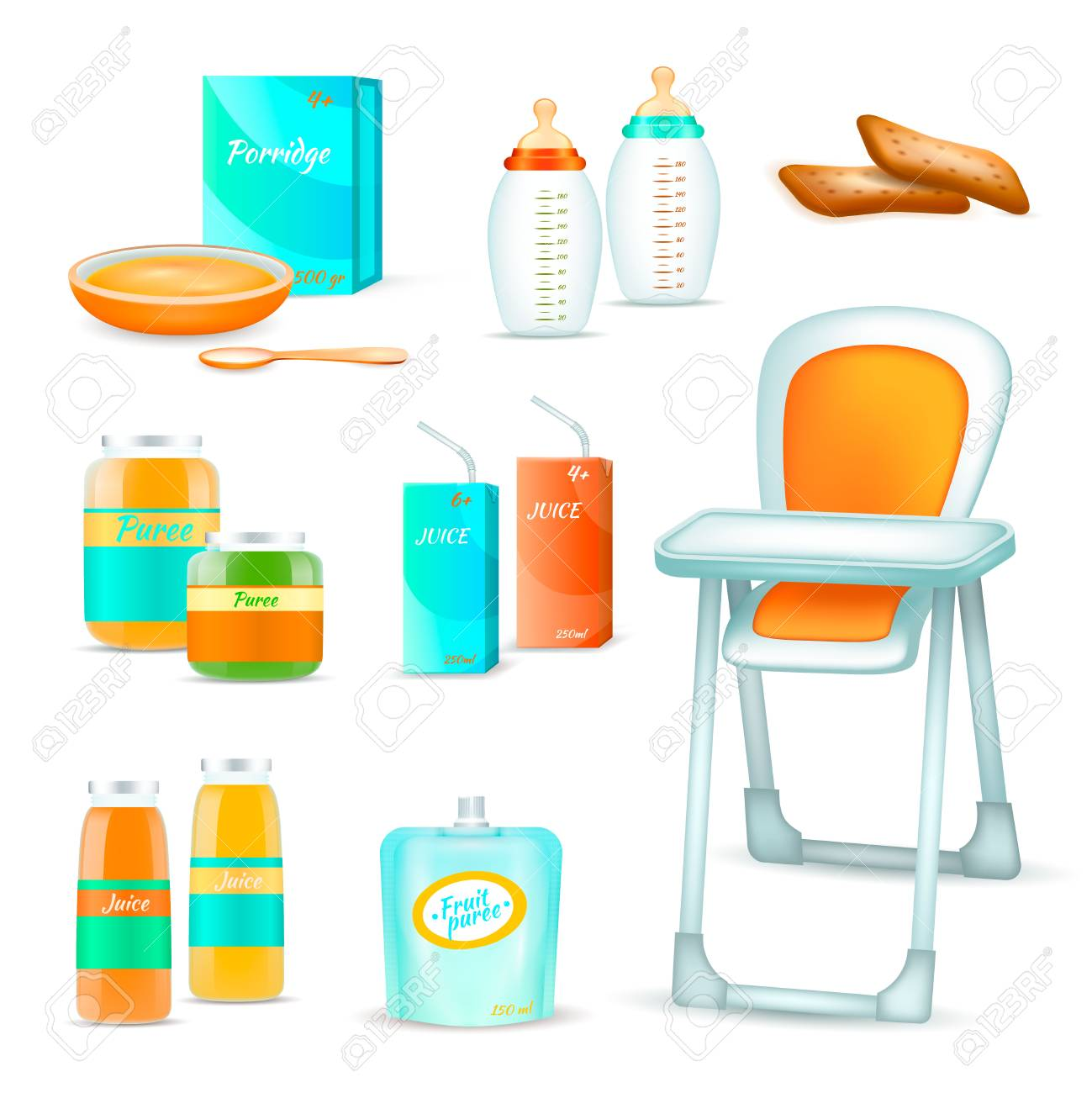 Baby Food Chair Baby Food Realistic 3d Set Of Isolated Childhood Nutrition Icons