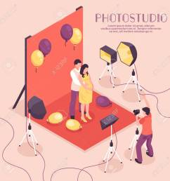 man and pregnant woman having photo shoot in professional studio 3d isometric vector illustration stock vector [ 1299 x 1300 Pixel ]