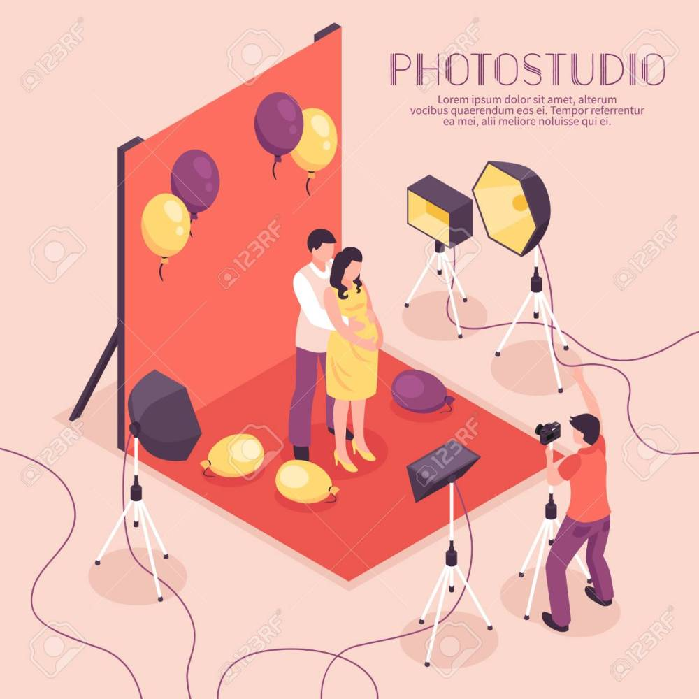 medium resolution of man and pregnant woman having photo shoot in professional studio 3d isometric vector illustration stock vector