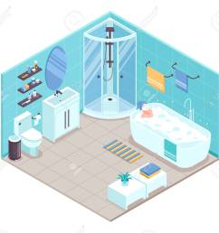 bathroom interior isometric view with oval bathtub corner shower cabine toilet sink units towel holders accessories [ 1300 x 1170 Pixel ]