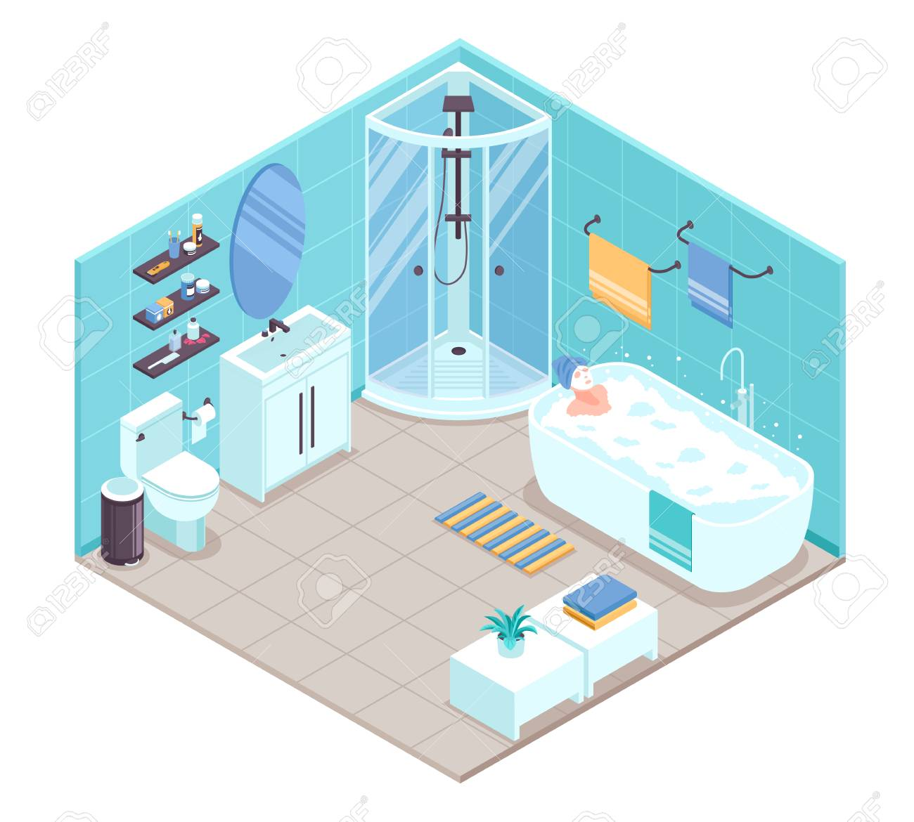 hight resolution of bathroom interior isometric view with oval bathtub corner shower cabine toilet sink units towel holders accessories