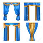 Golden Blue Long Luxury Drapes Curtains Set 4 Realistic Living