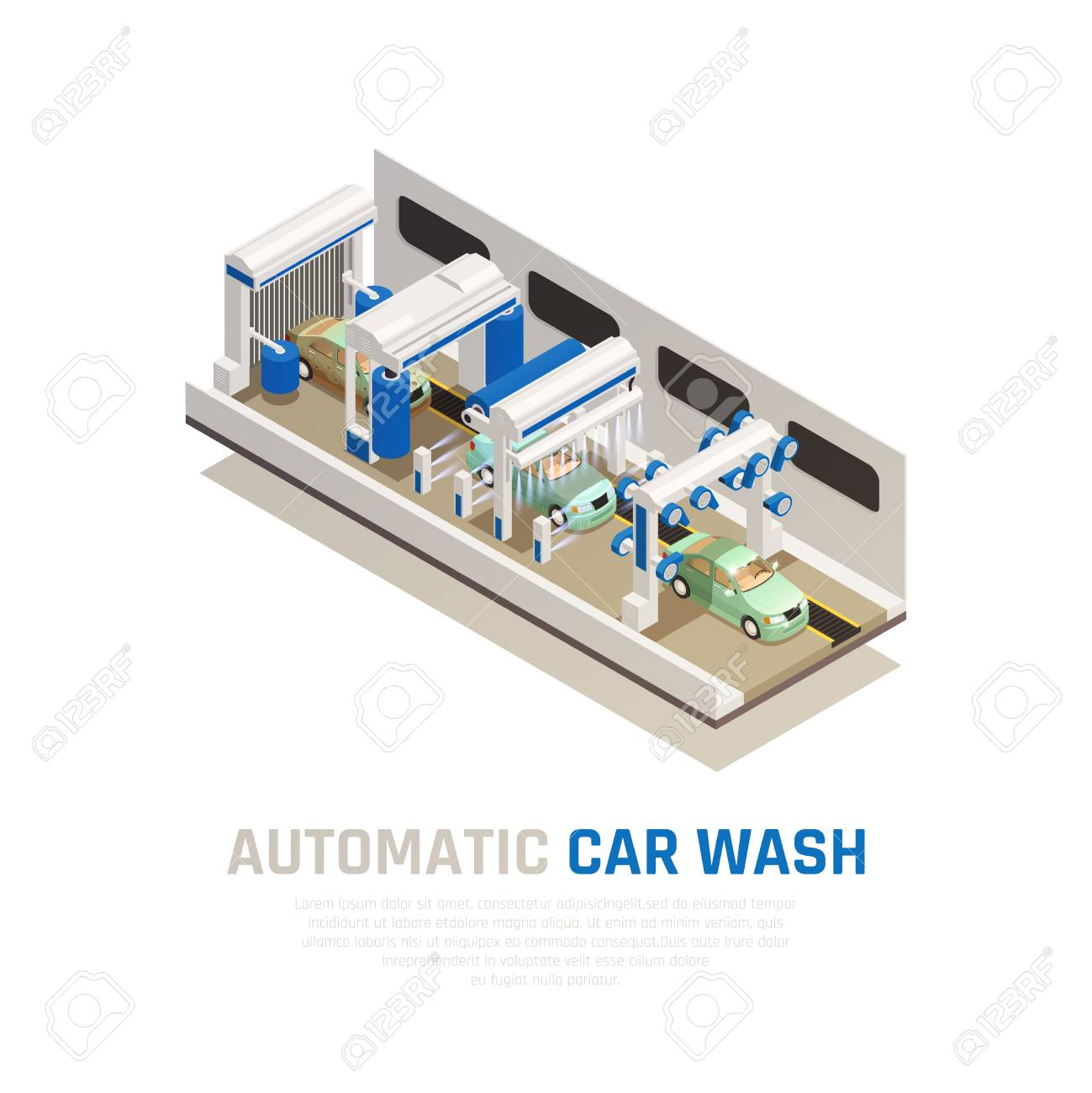 hight resolution of carwash service isometric consept with automatic car wash symbols vector illustration stock vector 122899540