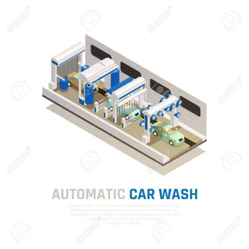 small resolution of carwash service isometric consept with automatic car wash symbols vector illustration stock vector 122899540