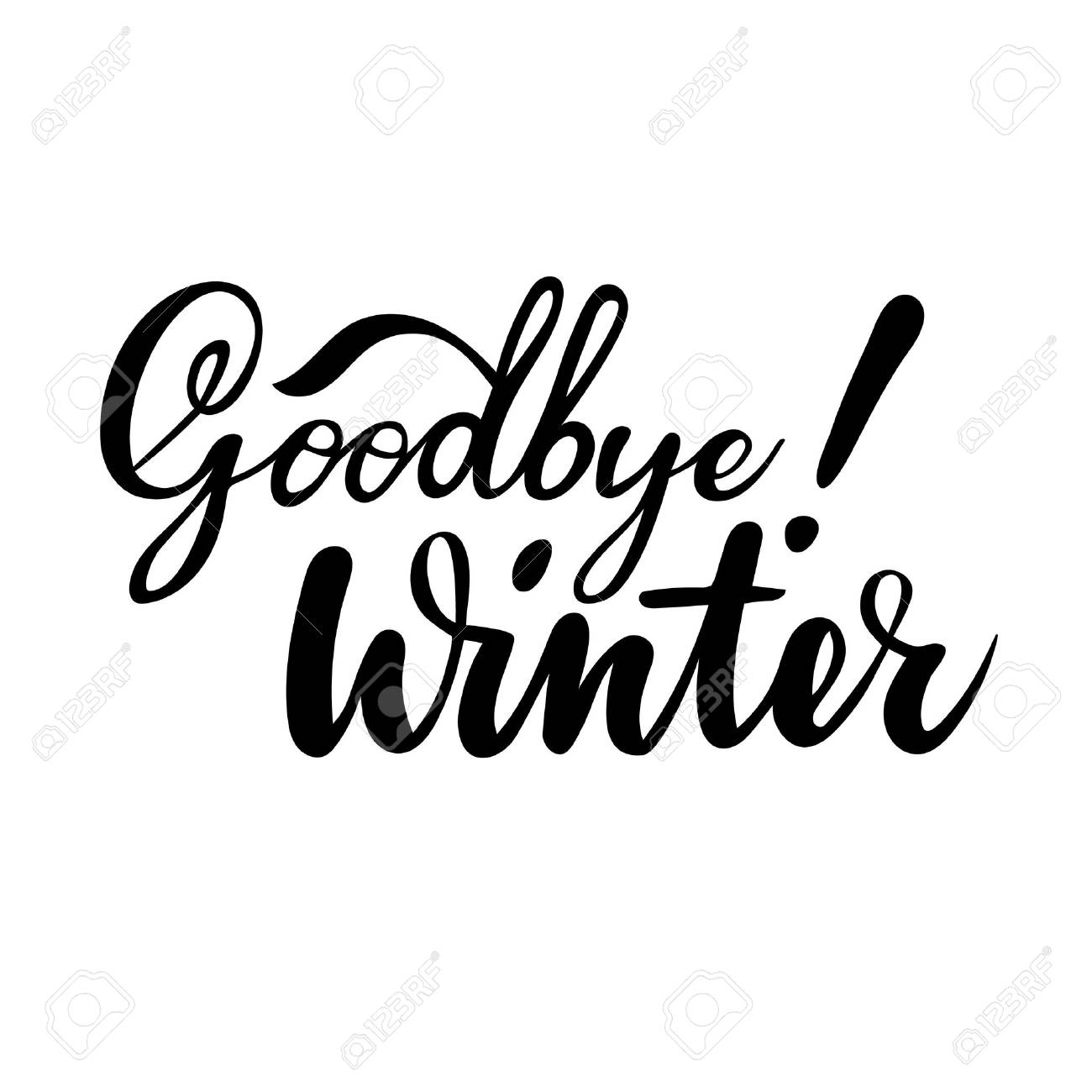 hight resolution of farewell greeting card with phrase goodbye winter vector isolated illustration brush calligraphy