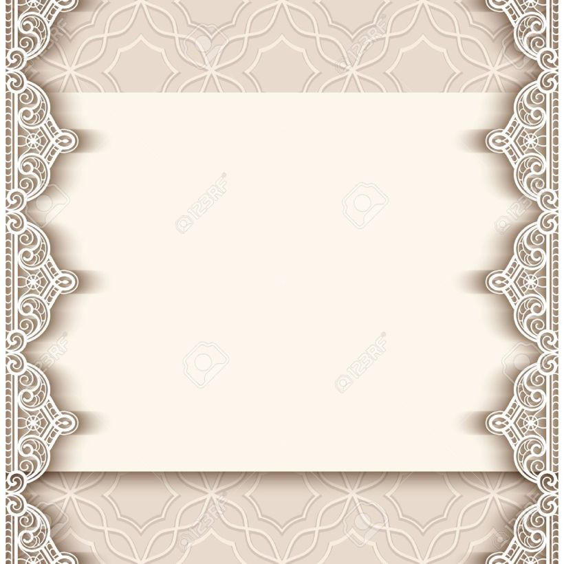 Vector Vintage Greeting Card With Lace Border Decoration Cutout Paper Background Wedding Invitation Or Announcement Template Ilration