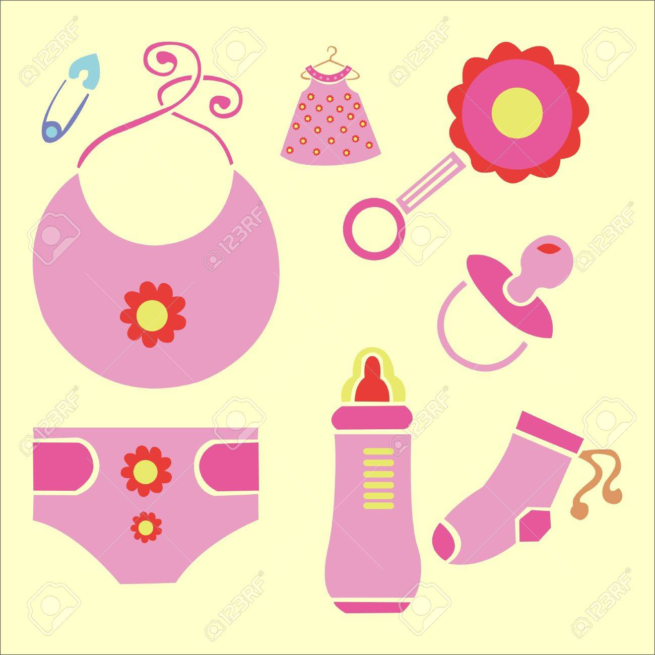 hight resolution of baby shower vector digital clipart 3 stock vector 27509988