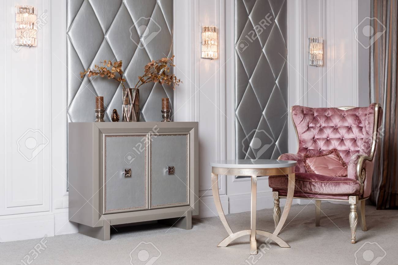velvet armchair pink heavy duty office chair luxury interior luxurious antique carved furniture classic stock photo