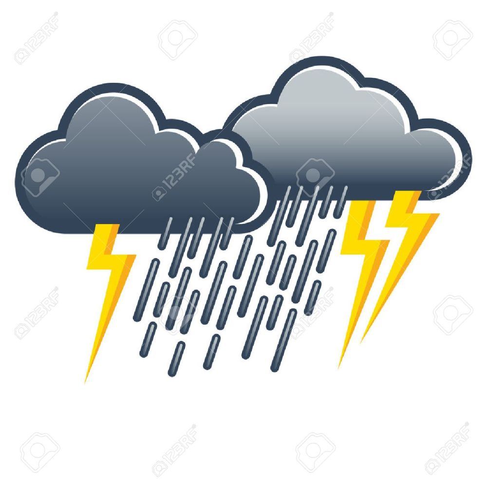 medium resolution of dark gray thunderclouds with heavy rain and lightning weather icon weather forecast stock vector