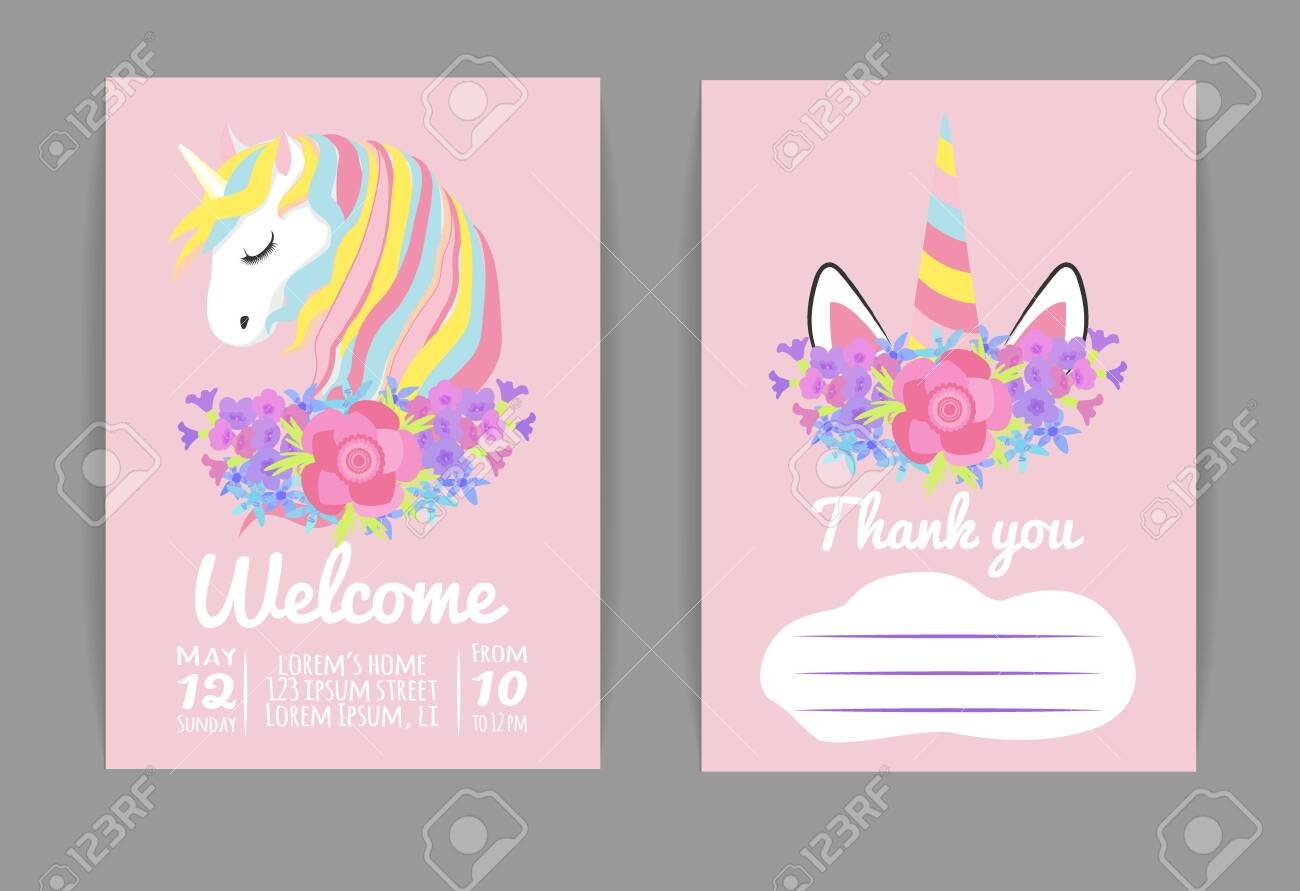 set template for baby shower or birthday invitation with unicorn
