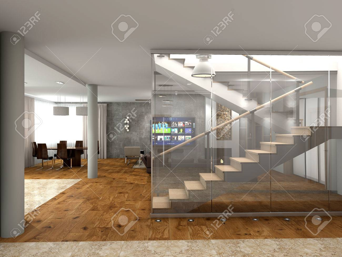 Modern Staircase To The Second Floor Stock Photo Picture And   Stairs To Second Floor Design   Bathroom Next   Space Saving   Square Shaped   Kitchen   Stairway