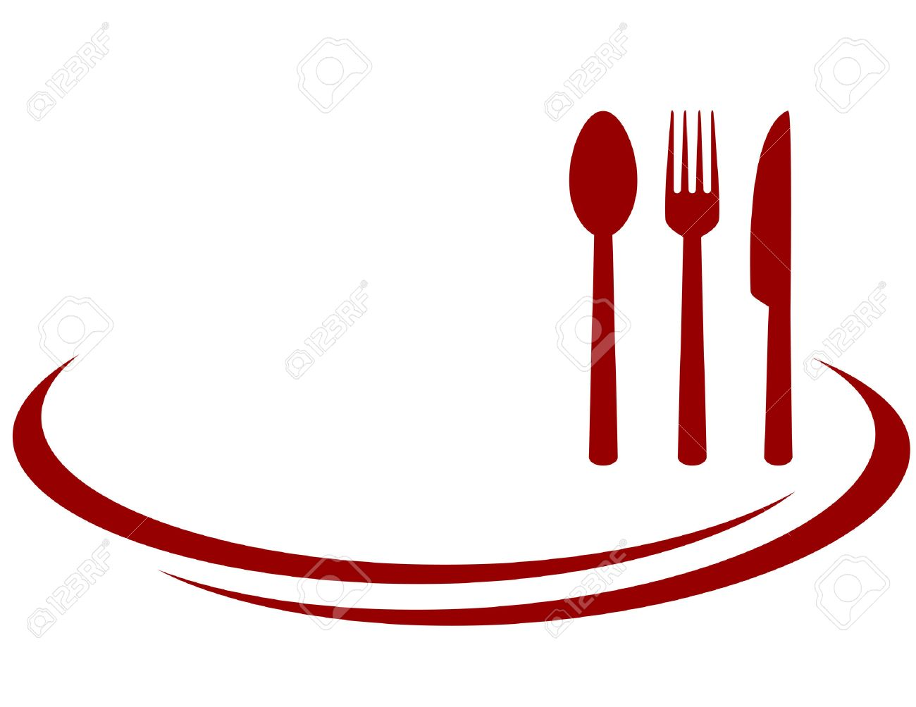 hight resolution of background for restaurant with red fork knife and spoon illustration