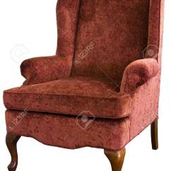 Queen Anne Wing Chair 6 Person Table And Set In Velvet Floral Fabric Stock Photo Picture 5327176