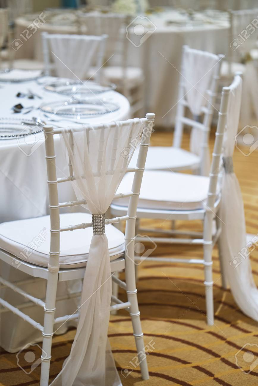 Silver Chiavari Chairs Wedding Reception Dinner Table Setting Indoor With White Chiavari