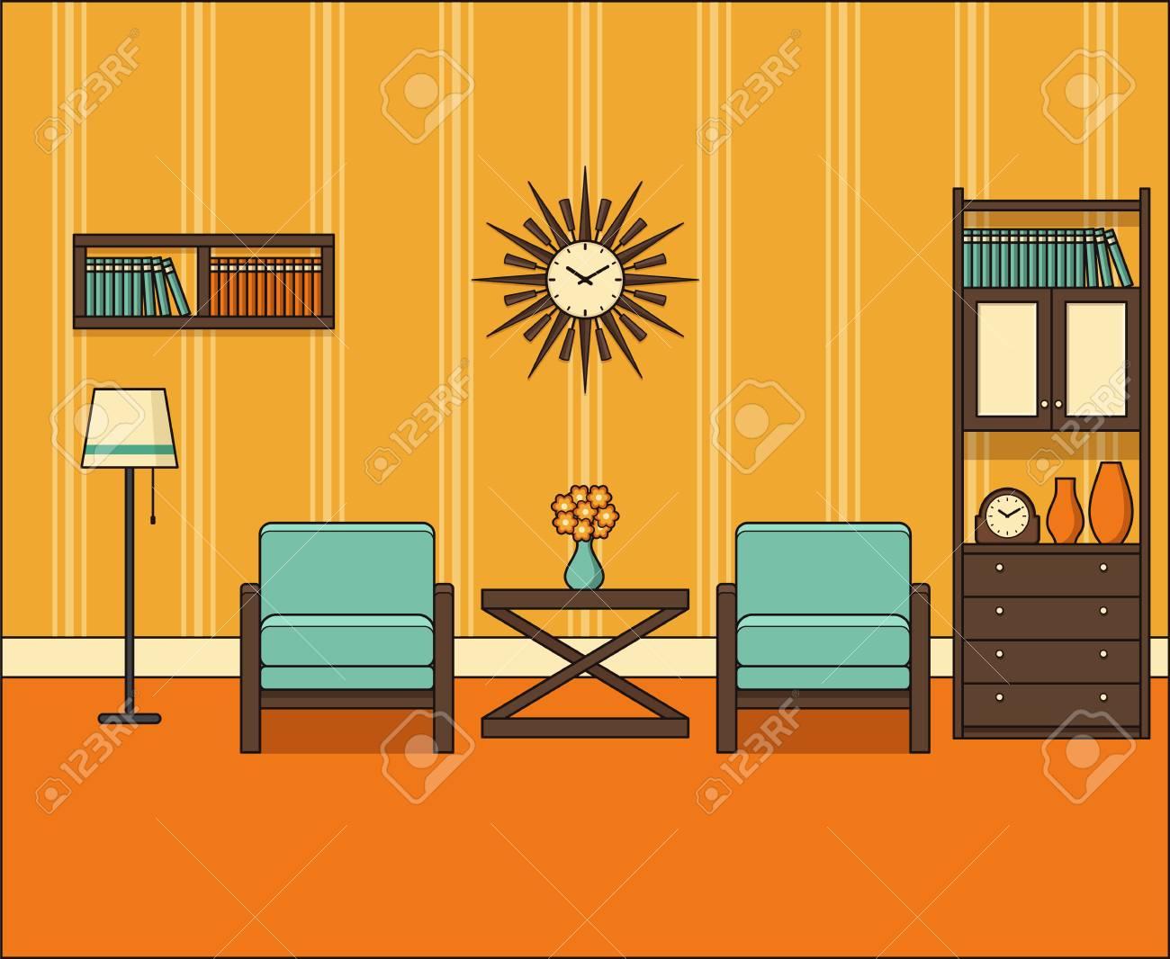 chambre au design plat salon retro des annees 60 en ligne art graphiques vectoriels illustration lineaire thin line espace maison vintage avec des