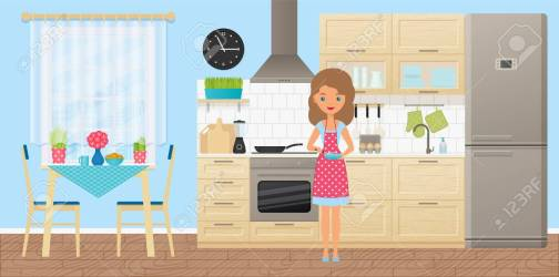 Woman Character In Kitchen Cooking Omelet Vector Cartoon Room Royalty Free Cliparts Vectors And Stock Illustration Image 107236909