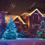 Seasonal Christmas House Lights Decoration Outdoor Blurred Defocused Stock Photo Picture And Royalty Free Image Image 91917263