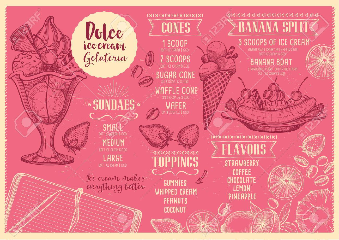 ice cream menu placemat