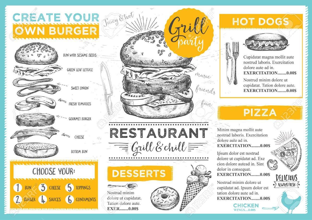 menu placemat food restaurant