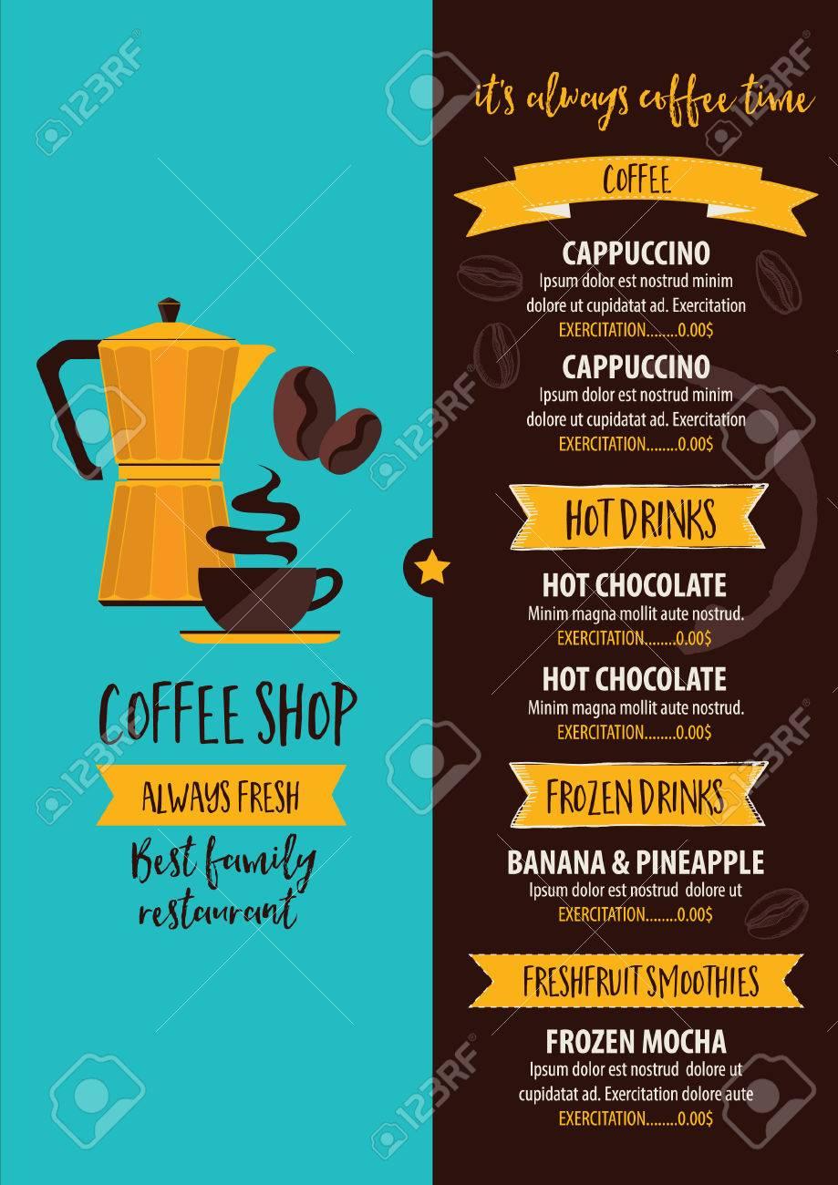 Coffee Restaurant Brochure, Beverage Menu Design. Tea Vintage Board. Vector Cafe  Template With