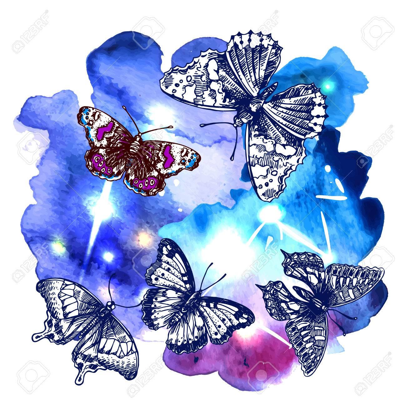 Ilustración Dibujo De Mariposa En El Fondo De La Acuarela Espacio