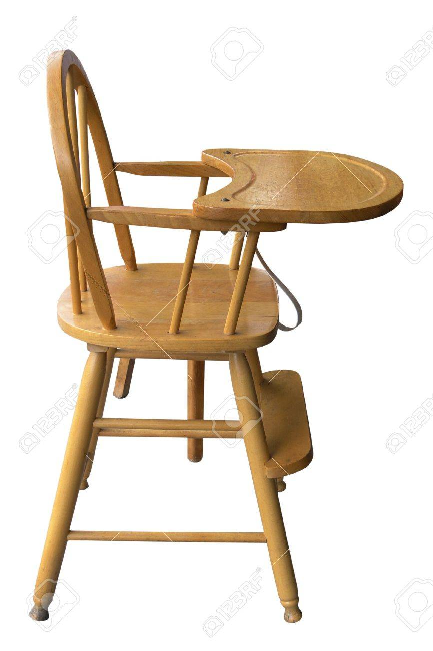 Wooden Baby High Chair Wooden Baby S Highchair Isolated With Clipping Path