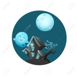 Casa Con Fantasmas Diseño De Juego Ilustración Ilustraciones Vectoriales Clip Art Vectorizado Libre De Derechos Image 62265848
