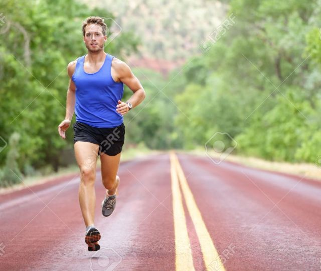 Running Athlete Man Male Runner Sprinting During Outdoors Training For Marathon Run Athletic Fit Young Sport