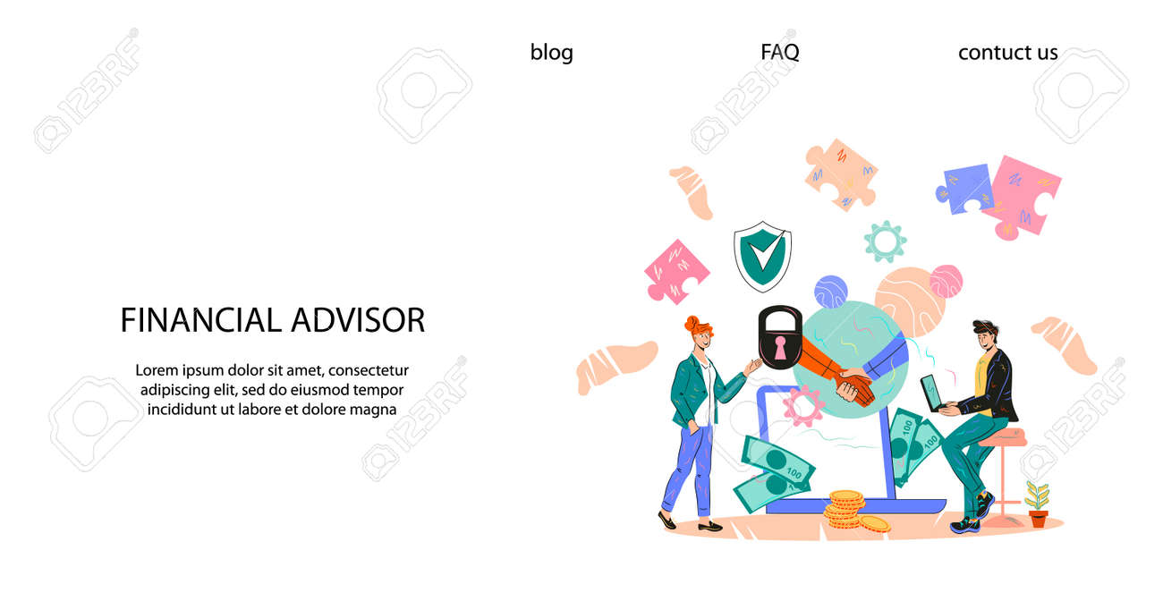 A financial planner can help you reach your financial goals more quickly. Financial Advisor Website Banner Template With Businessman Meeting Financial Consultant For Professional Advice Business Consulting And Investments Flat Cartoon Vector Illustration Royalty Free Cliparts Vectors And Stock Illustration Image 156979991