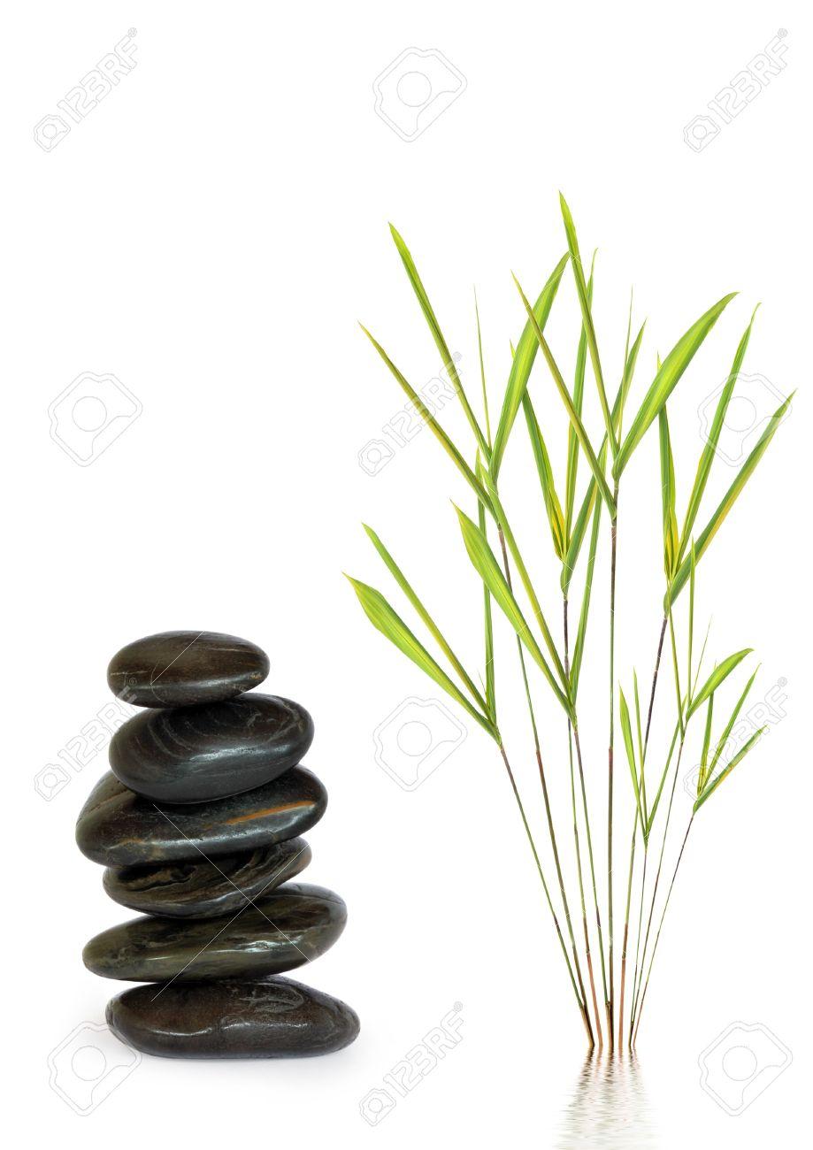 zen dessin abstrait de spa de massage pierres en parfait equilibre avec des feuilles de bambou herbe sur fond blanc