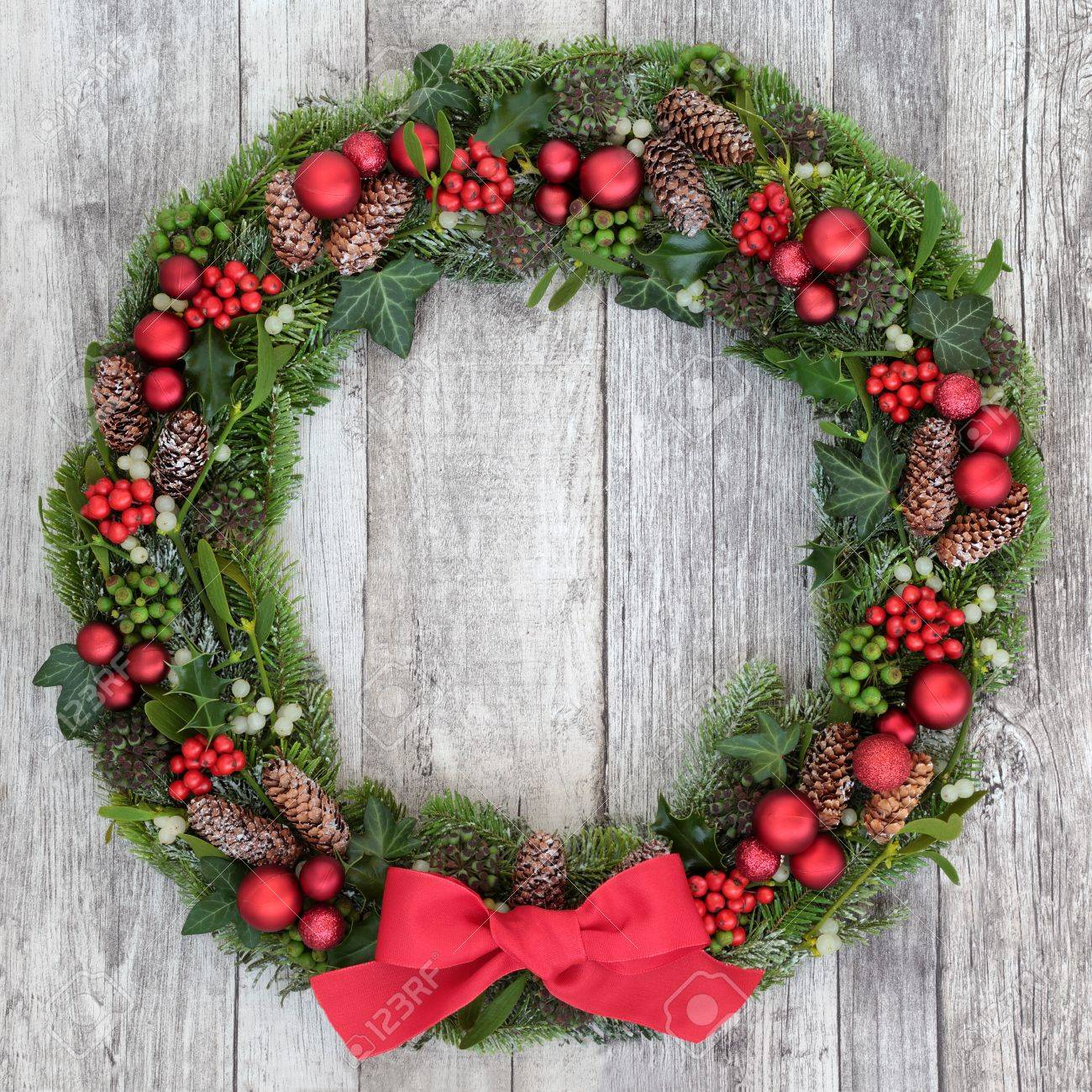 traditional christmas wreath with