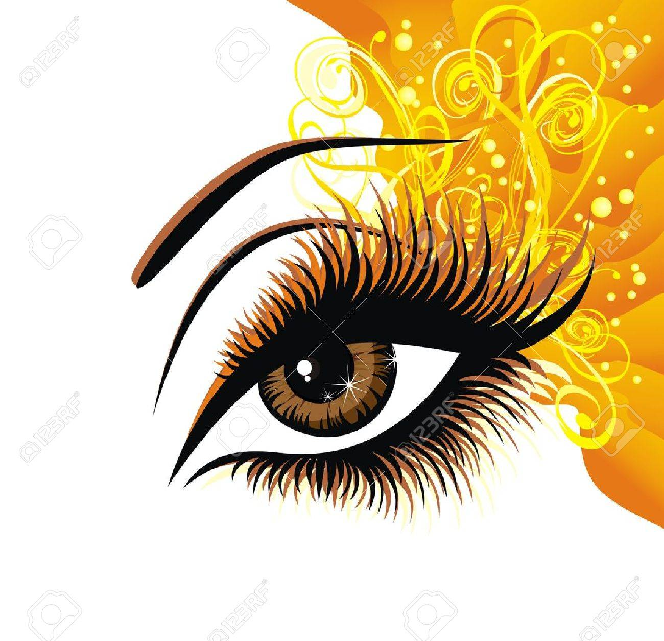 hight resolution of beautiful female brown eye stock vector 17387786