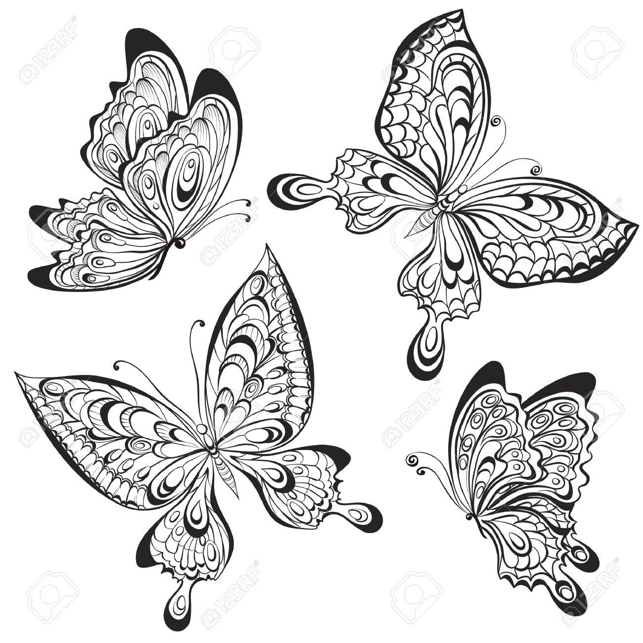 Vector Conjunto De Mariposas Caligráficas Blanco Y Negro Aislado En