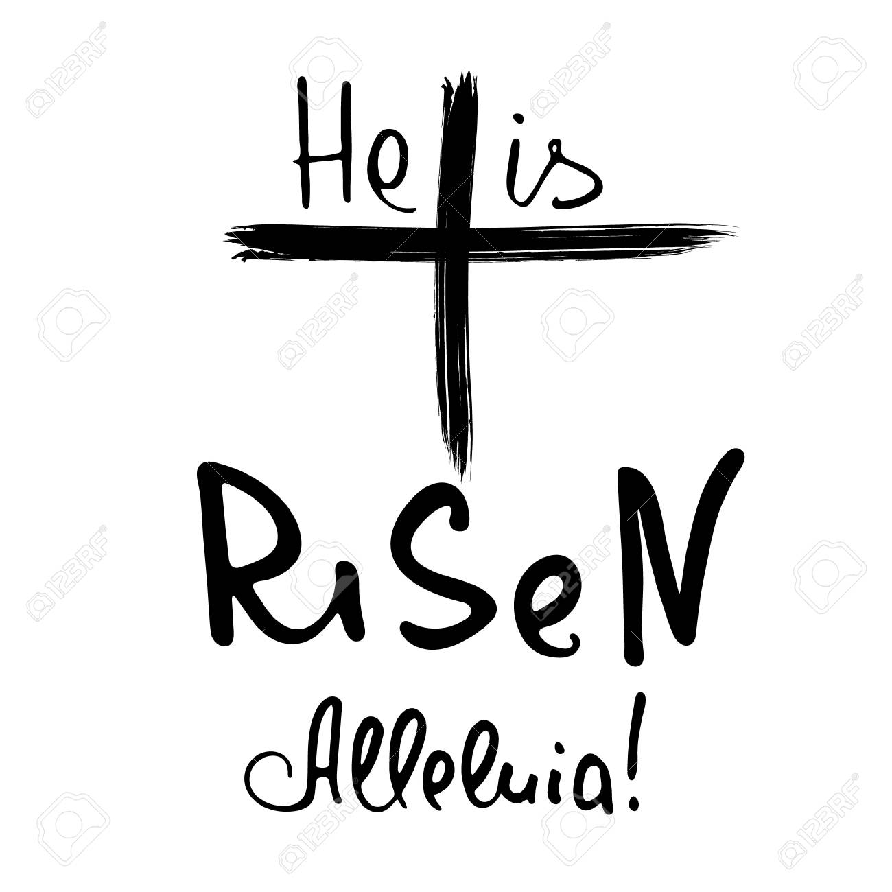 hight resolution of he is risen alleluia bible lettering brush calligraphy words about god