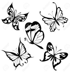 Set Black White Butterflies Of A Tattoo Royalty Free Cliparts Vectors And Stock Illustration Image 8539302