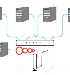 computer network sectional diagram with five pcs switch and wireless cable modem router setup stock photo [ 1300 x 909 Pixel ]