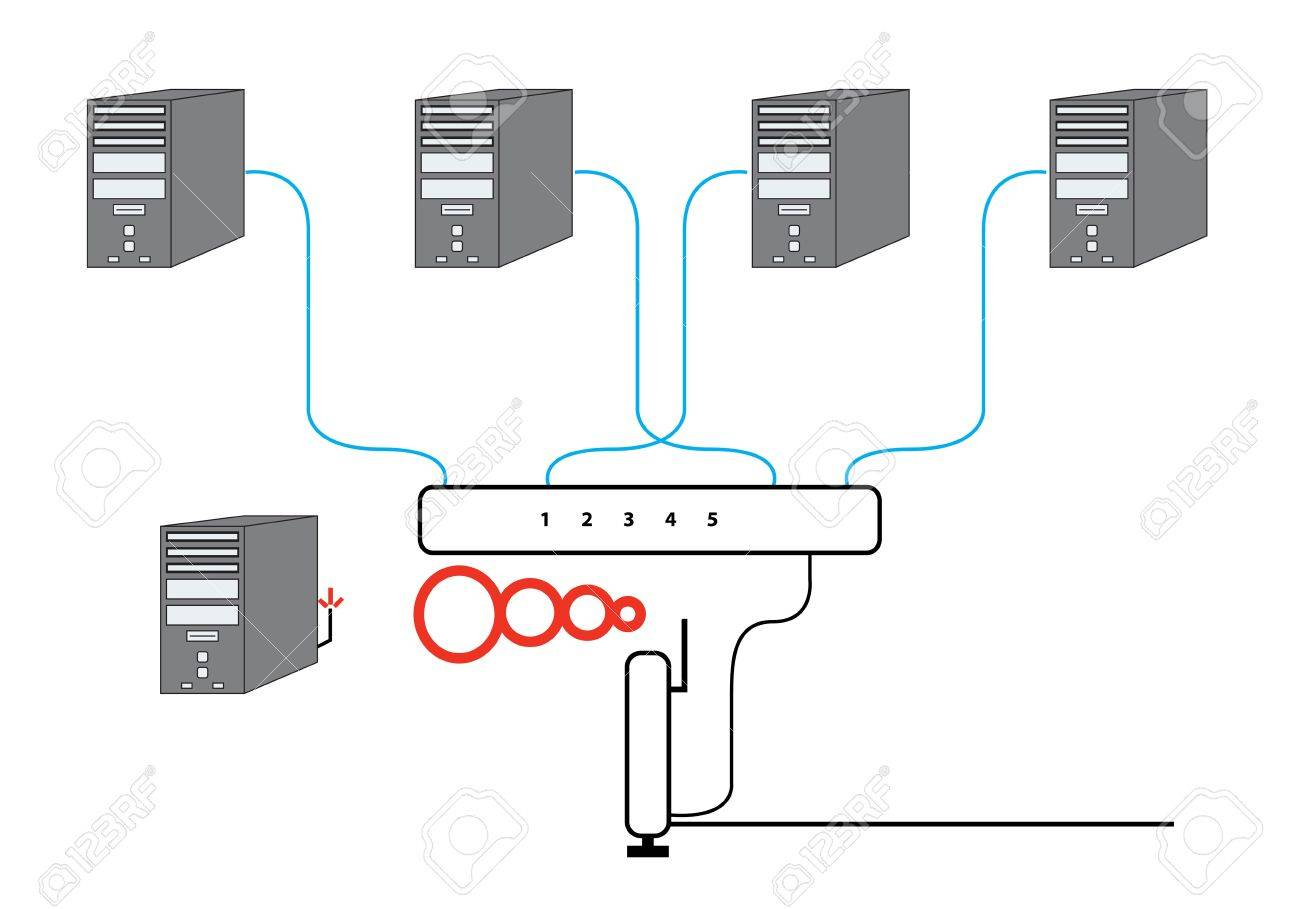 hight resolution of computer network sectional diagram with five pcs switch and wireless cable modem router setup stock photo