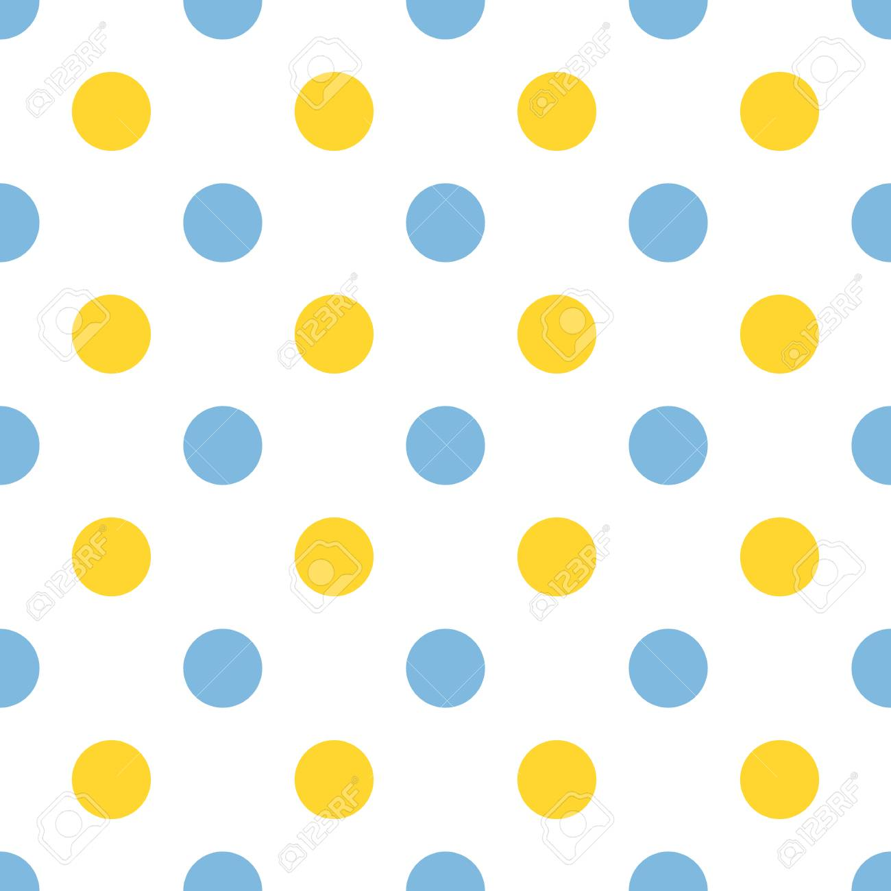 wallpapers Blue Yellow Polka Dots vector seamless pattern with blue and