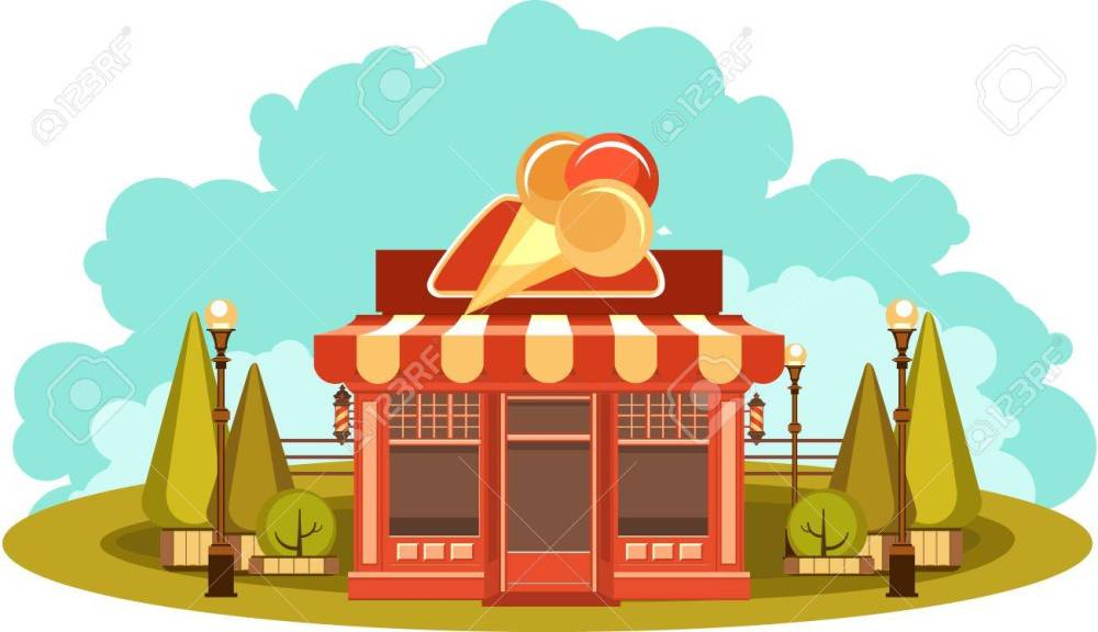 medium resolution of vector vector clipart fun and leisure park facade of a small ice cream shop among cut figured trees