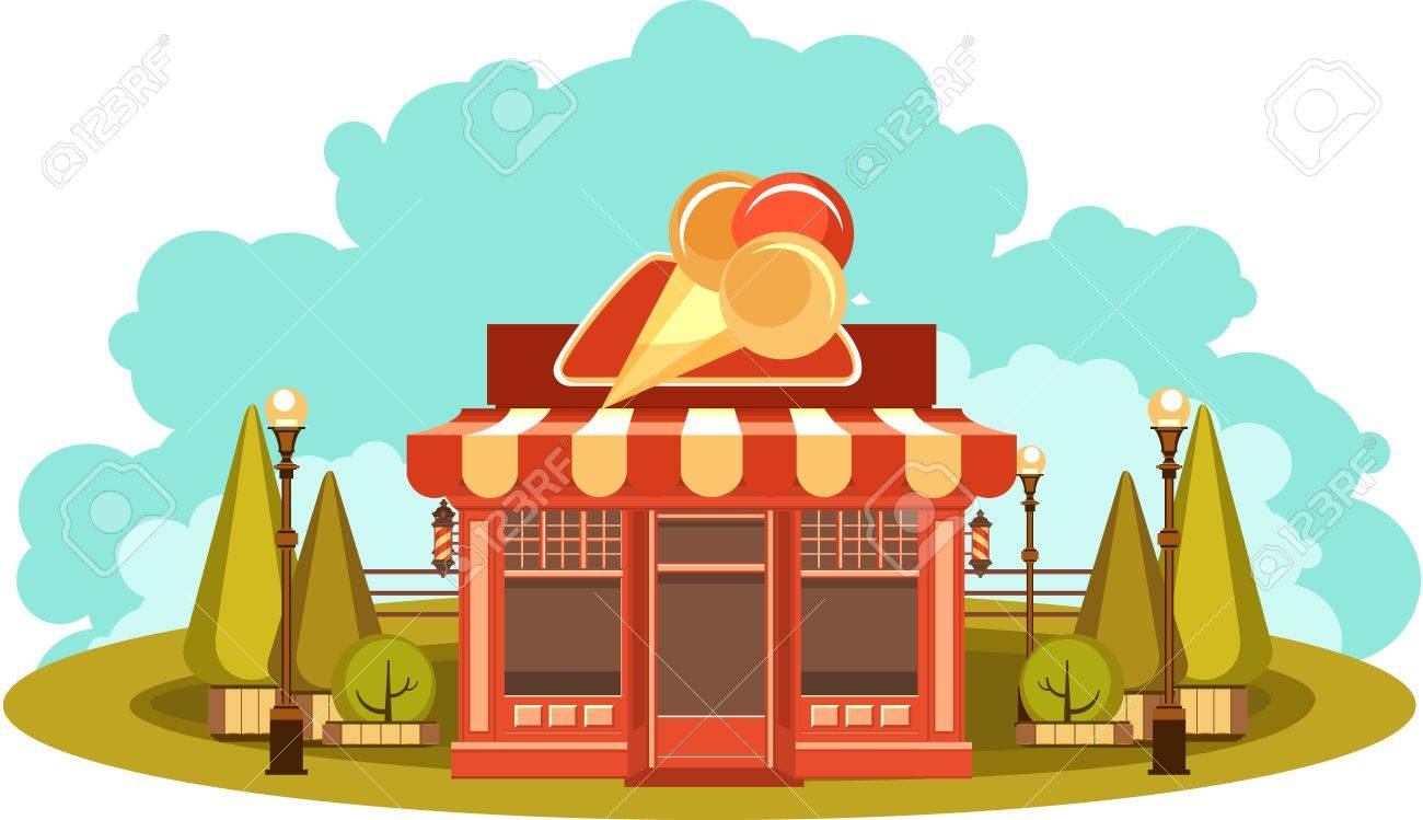 hight resolution of vector vector clipart fun and leisure park facade of a small ice cream shop among cut figured trees